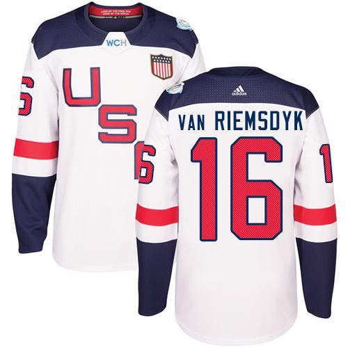 Team USA #16 James van Riemsdyk White 2016 World Cup Stitched Youth NHL Jersey