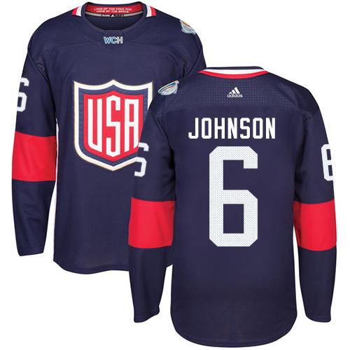 Team USA #6 Erik Johnson Navy Blue 2016 World Cup Stitched Youth NHL Jersey