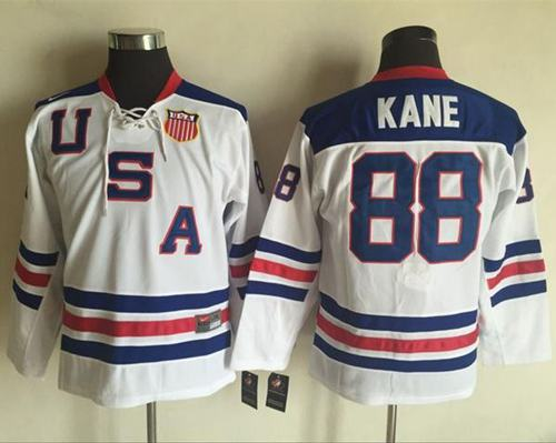 Team USA #88 Patrick Kane White 1960 Throwback Stitched Youth NHL Jersey