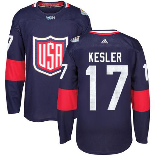 Team USA #17 Ryan Kesler Navy Blue 2016 World Cup Stitched Youth NHL Jersey