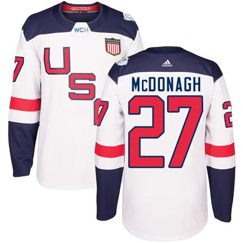 Team USA #27 Ryan McDonagh White 2016 World Cup Stitched Youth NHL Jersey