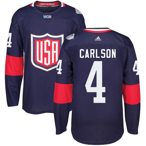 Team USA #4 John Carlson Navy Blue 2016 World Cup Stitched Youth NHL Jersey