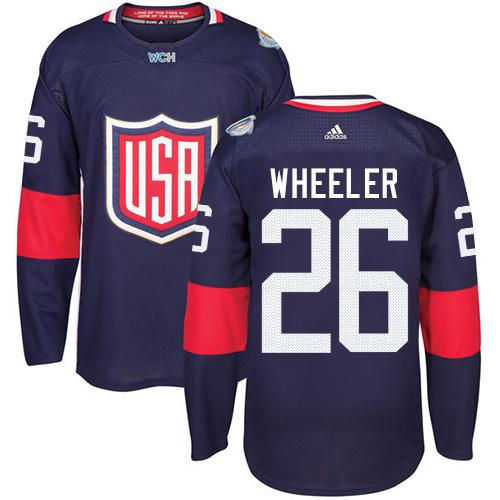 Team USA #26 Blake Wheeler Navy Blue 2016 World Cup Stitched Youth NHL Jersey