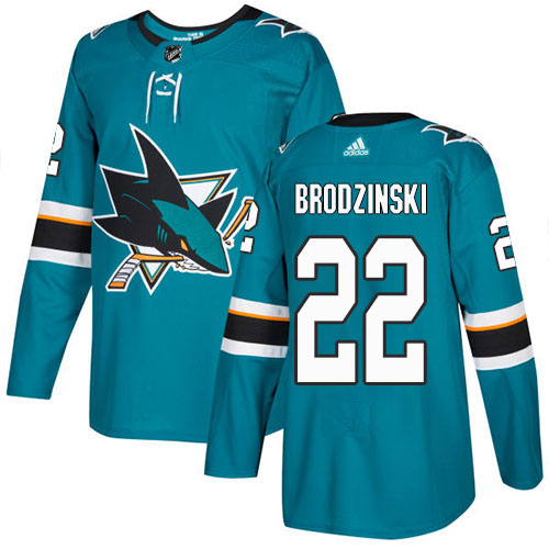 Adidas Sharks #22 Jonny Brodzinski Teal Home Authentic Stitched Youth NHL Jersey