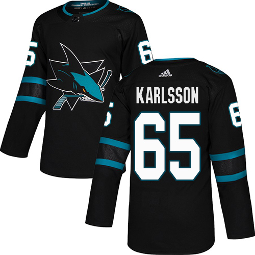 Adidas Sharks #65 Erik Karlsson Black Alternate Authentic Stitched Youth NHL Jersey