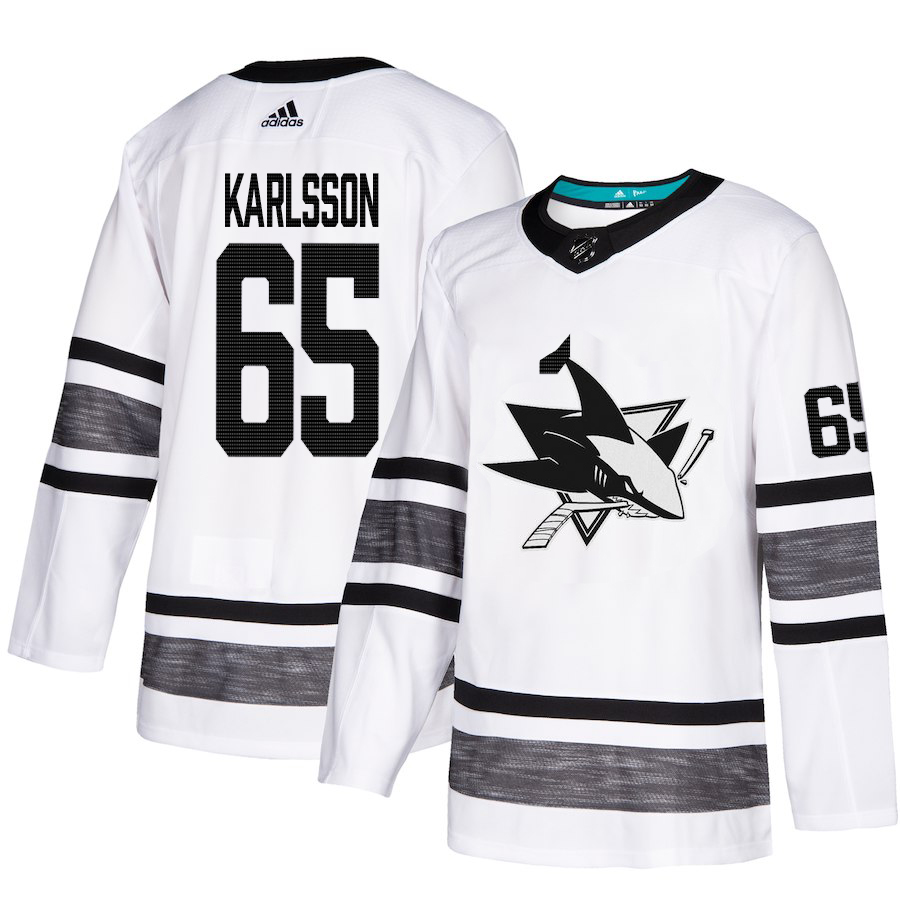 Adidas Sharks #65 Erik Karlsson White Authentic 2019 All-Star Stitched Youth NHL Jersey