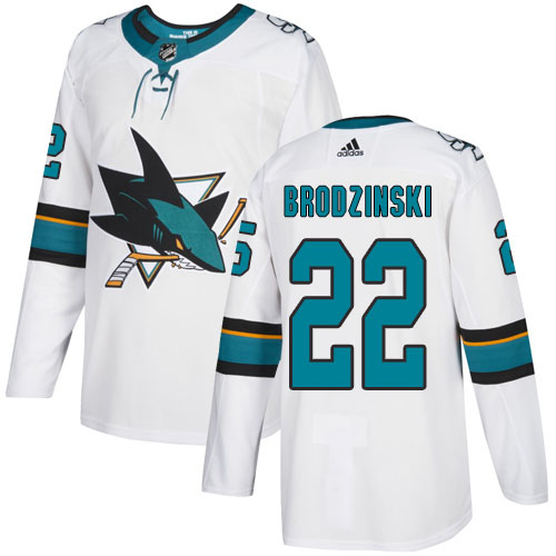 Adidas Sharks #22 Jonny Brodzinski White Road Authentic Stitched Youth NHL Jersey