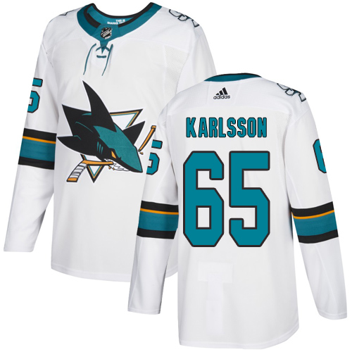 Adidas Sharks #65 Erik Karlsson White Road Authentic Stitched Youth NHL Jersey