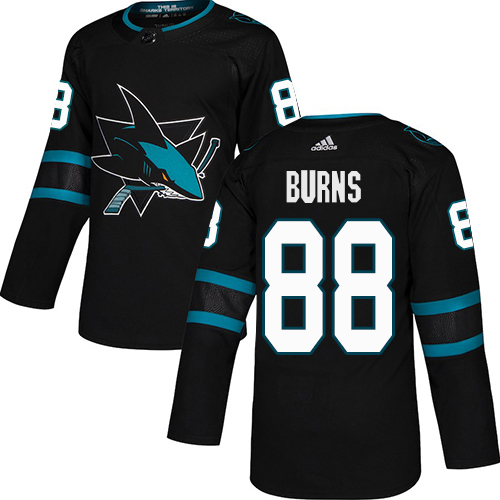 Adidas Sharks #88 Brent Burns Black Alternate Authentic Stitched Youth NHL Jersey