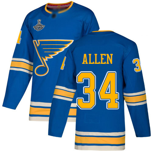 Adidas Blues #34 Jake Allen Blue Alternate Authentic Stanley Cup Champions Stitched Youth NHL Jersey