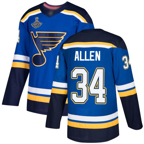 Adidas Blues #34 Jake Allen Blue Home Authentic Stanley Cup Champions Stitched Youth NHL Jersey