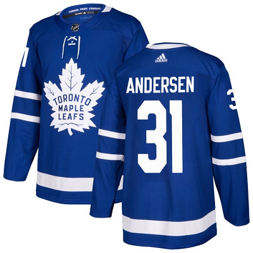 Adidas Maple Leafs #31 Frederik Andersen Blue Home Authentic Stitched Youth NHL Jersey