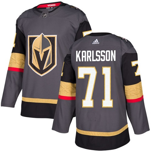 Adidas Golden Knights #71 William Karlsson Grey Home Authentic Stitched Youth NHL Jersey