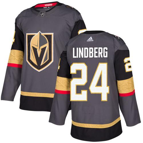 Adidas Golden Knights #24 Oscar Lindberg Grey Home Authentic Stitched Youth NHL Jersey
