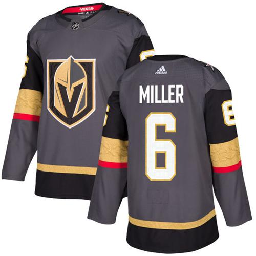 Adidas Golden Knights #6 Colin Miller Grey Home Authentic Stitched Youth NHL Jersey