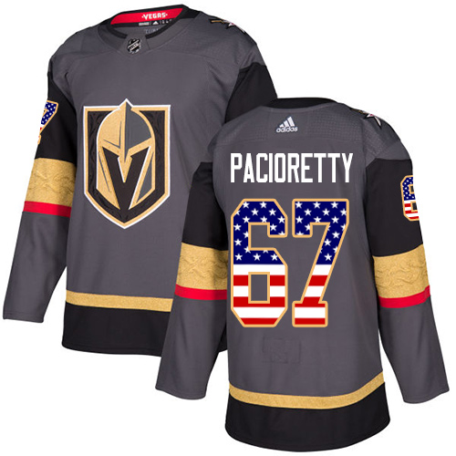 Adidas Golden Knights #67 Max Pacioretty Grey Home Authentic USA Flag Stitched Youth NHL Jersey