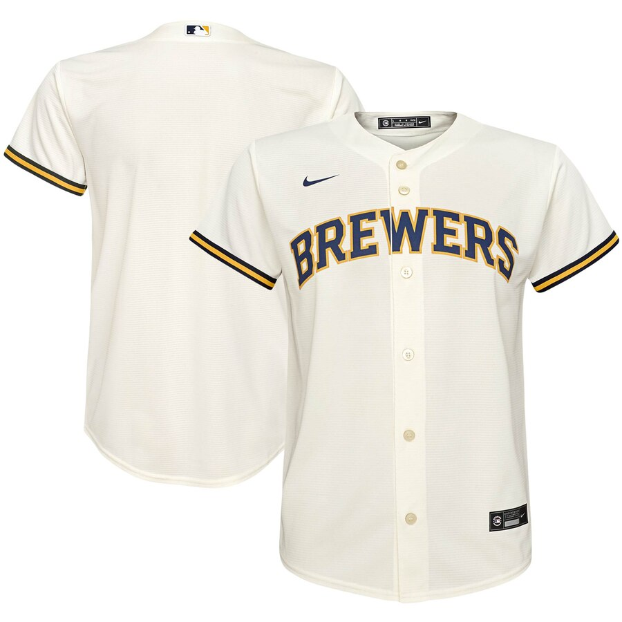 Milwaukee Brewers Nike Youth Home 2020 MLB Team Jersey Cream