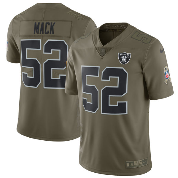 Youth Nike Oakland Raiders #52 Khalil Mack Olive Salute To Service Limited Stitched NFL Jersey