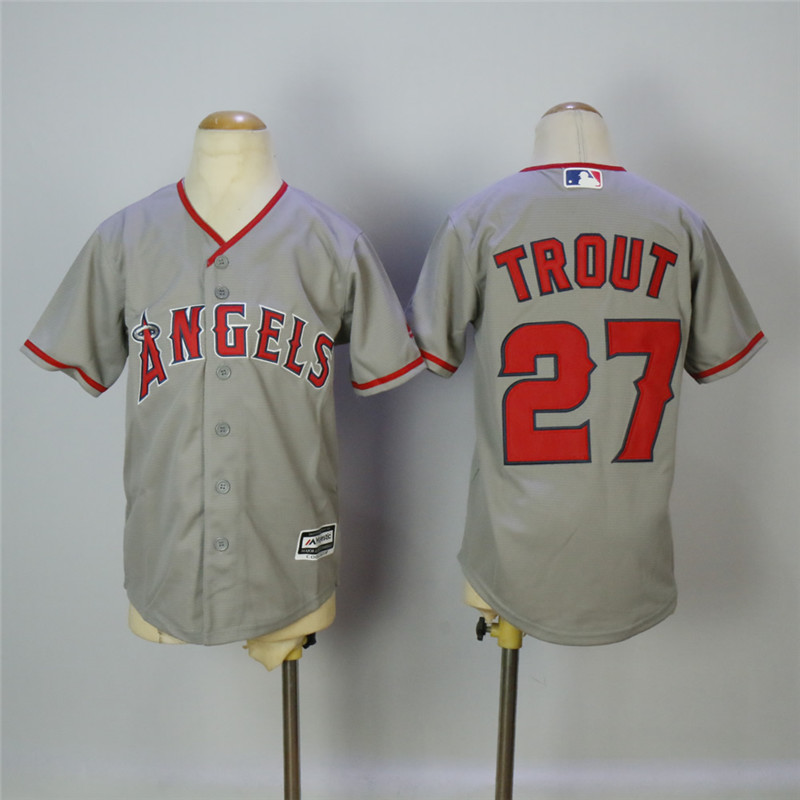 Youth Los Angeles Angels #27 Mike Trout Gray Youth Cool Base Stitched MLB Jersey