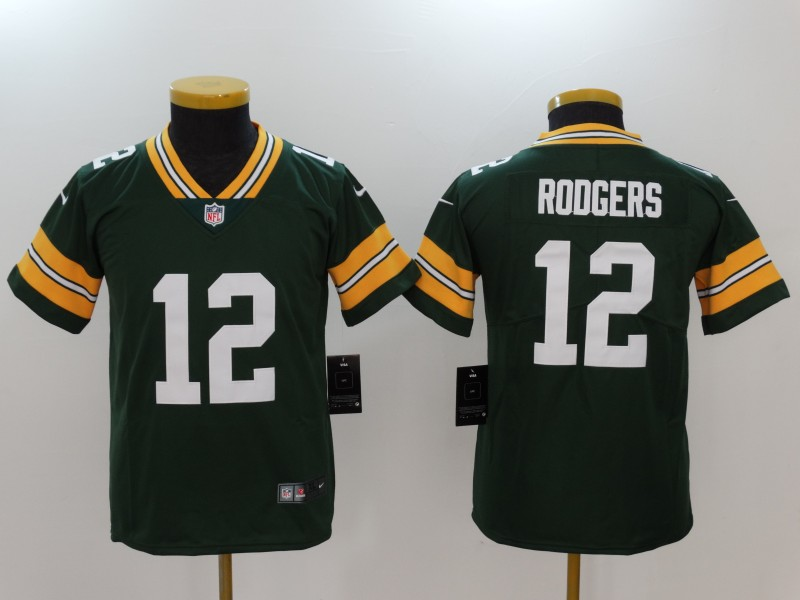 Youth Green Bay Packers #12 Aaron Rodgers Green Vapor Untouchable Limited Jersey