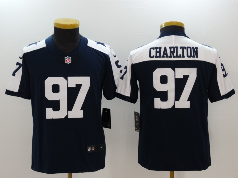 Youth Dallas Cowboys #97 Taco Charlton Navy Throwback Vapor Untouchable Limited Jersey