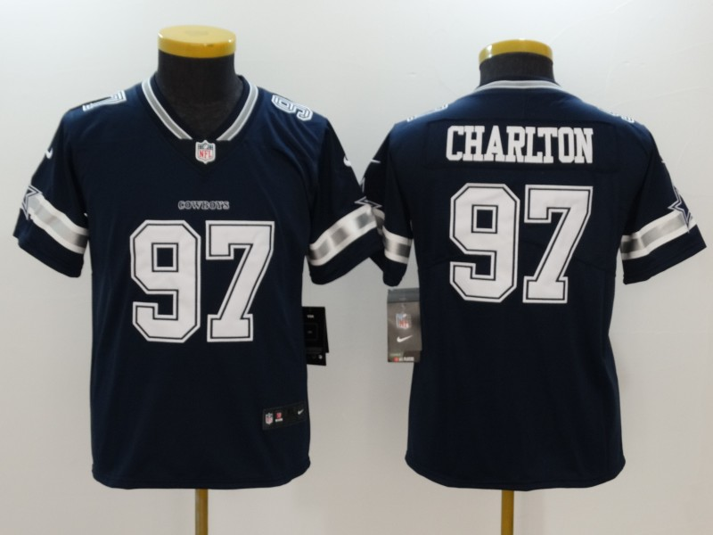 Youth Dallas Cowboys #97 Taco Charlton Navy Vapor Untouchable Limited Jersey