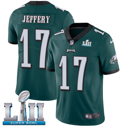 Youth Philadelphia Eagles #17 Alshon Jeffery Midnight Green Super Bowl LII Bound Game Stitched NFL Jersey