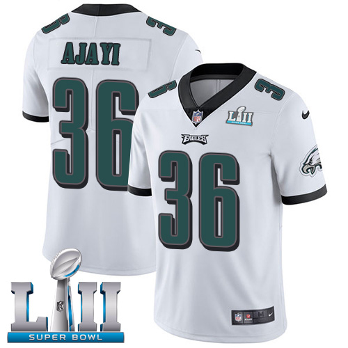 Youth Philadelphia Eagles #36 Jay Ajayi White Super Bowl LII Bound Game Stitched NFL Jersey