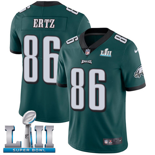 Youth Philadelphia Eagles # 86 Zach Ertz Green Super Bowl LII Game Event Stitched NFL Jersey