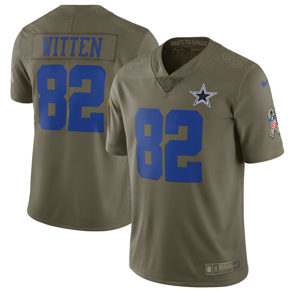 Youth Nike Dallas Cowboys #82 Jason Witten Olive Salute to Service Limited Stitched NFL Jersey