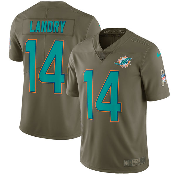 Youth Nike Miami Dolphins #14 Jarvis Landry Olive Salute To Service Limited Stitched NFL Jersey