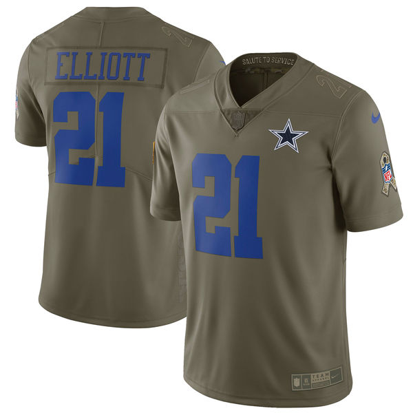 Youth Nike Dallas Cowboys #21 Ezekiel Elliott Olive Salute to Service Limited Stitched NFL Jersey
