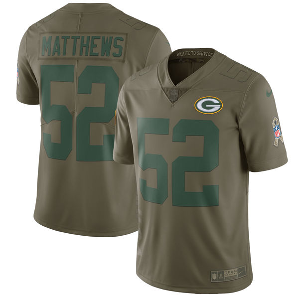 Youth Nike Green Bay Packers #52 Clay Matthews Olive Salute To Service Limited Stitched NFL Jersey