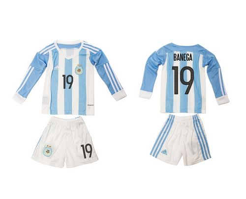Argentina #19 Banega Home Long Sleeves Kid Soccer Country Jersey