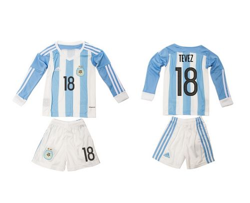Argentina #18 Tevez Home Long Sleeves Kid Soccer Country Jersey