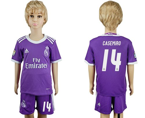 Real Madrid #14 Casemiro Away Kid Soccer Club Jersey