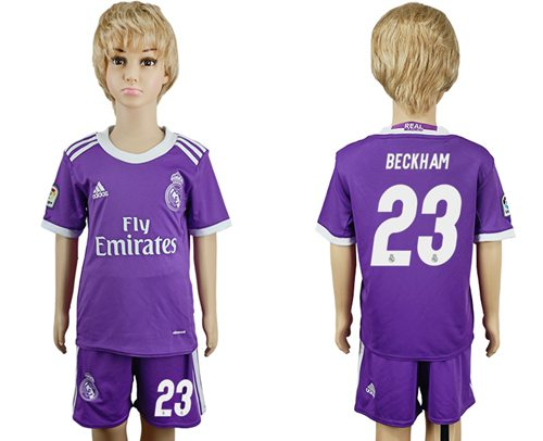 Real Madrid #23 Beckham Away Kid Soccer Club Jersey