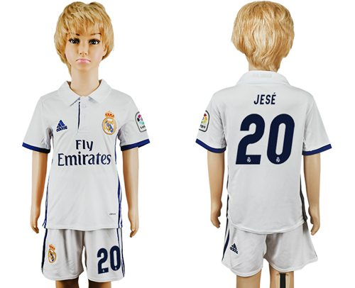Real Madrid #20 Jese White Home Kid Soccer Club Jersey