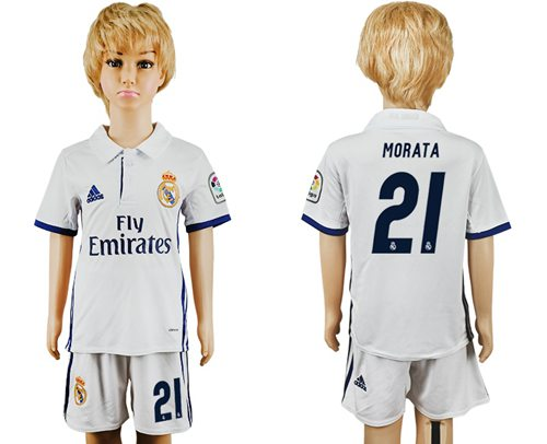Real Madrid #21 Morata White Home Kid Soccer Club Jersey