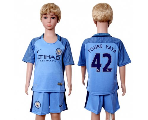 Manchester City #42 Toure YAYA Home Kid Soccer Club Jersey