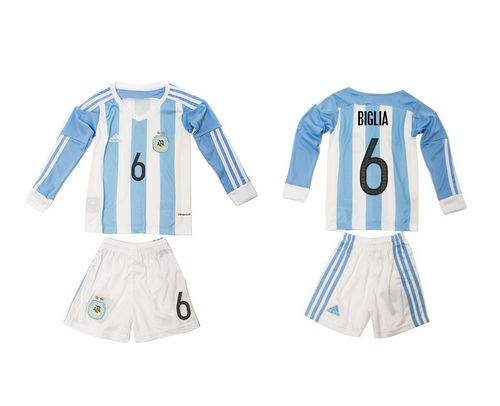 Argentina #6 Biglia Home Long Sleeves Kid Soccer Country Jersey