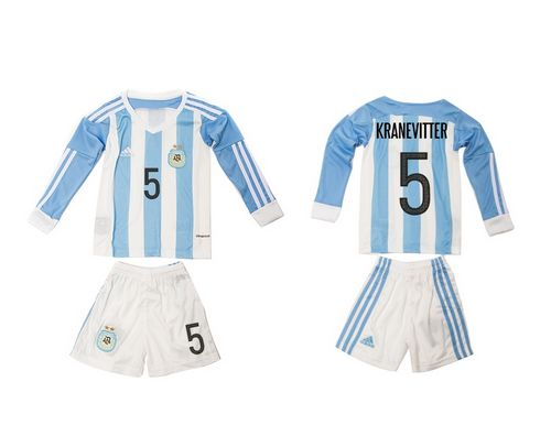 Argentina #5 Kranevitier Home Long Sleeves Kid Soccer Country Jersey