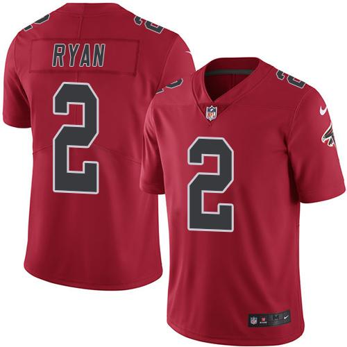 Nike Falcons #2 Matt Ryan Red Youth Stitched NFL Limited Rush Jersey