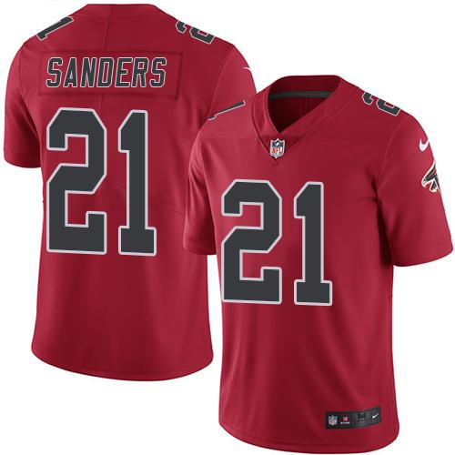 Nike Falcons #21 Deion Sanders Red Youth Stitched NFL Limited Rush Jersey