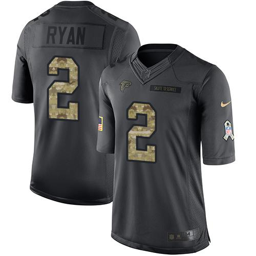 Nike Falcons #2 Matt Ryan Black Youth Stitched NFL Limited 2016 Salute to Service Jersey