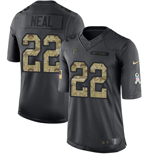 Nike Falcons #22 Keanu Neal Black Youth Stitched NFL Limited 2016 Salute to Service Jersey