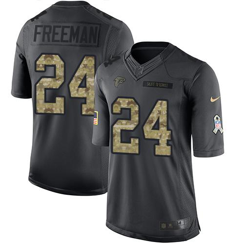 Nike Falcons #24 Devonta Freeman Black Youth Stitched NFL Limited 2016 Salute to Service Jersey