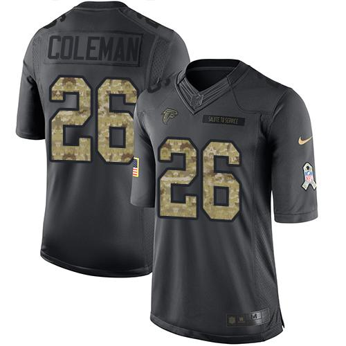 Nike Falcons #26 Tevin Coleman Black Youth Stitched NFL Limited 2016 Salute to Service Jersey