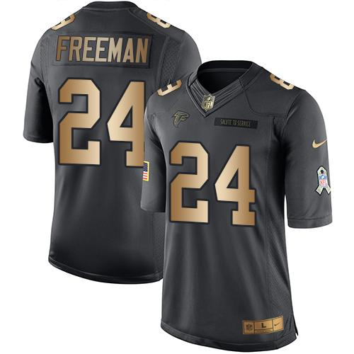 Nike Falcons #24 Devonta Freeman Black Youth Stitched NFL Limited Gold Salute to Service Jersey