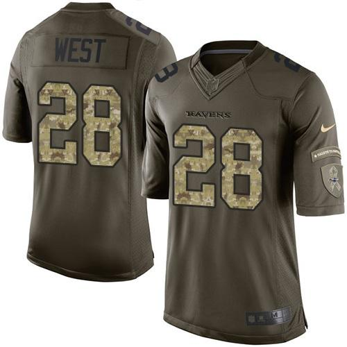Nike Ravens #28 Terrance West Green Youth Stitched NFL Limited Salute to Service Jersey